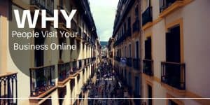 Why People Visit Your Business Online with city street and people shopping in background