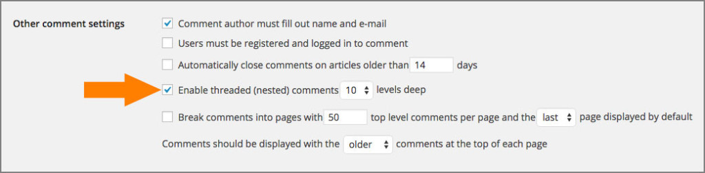 Wordpress threaded discussion settings
