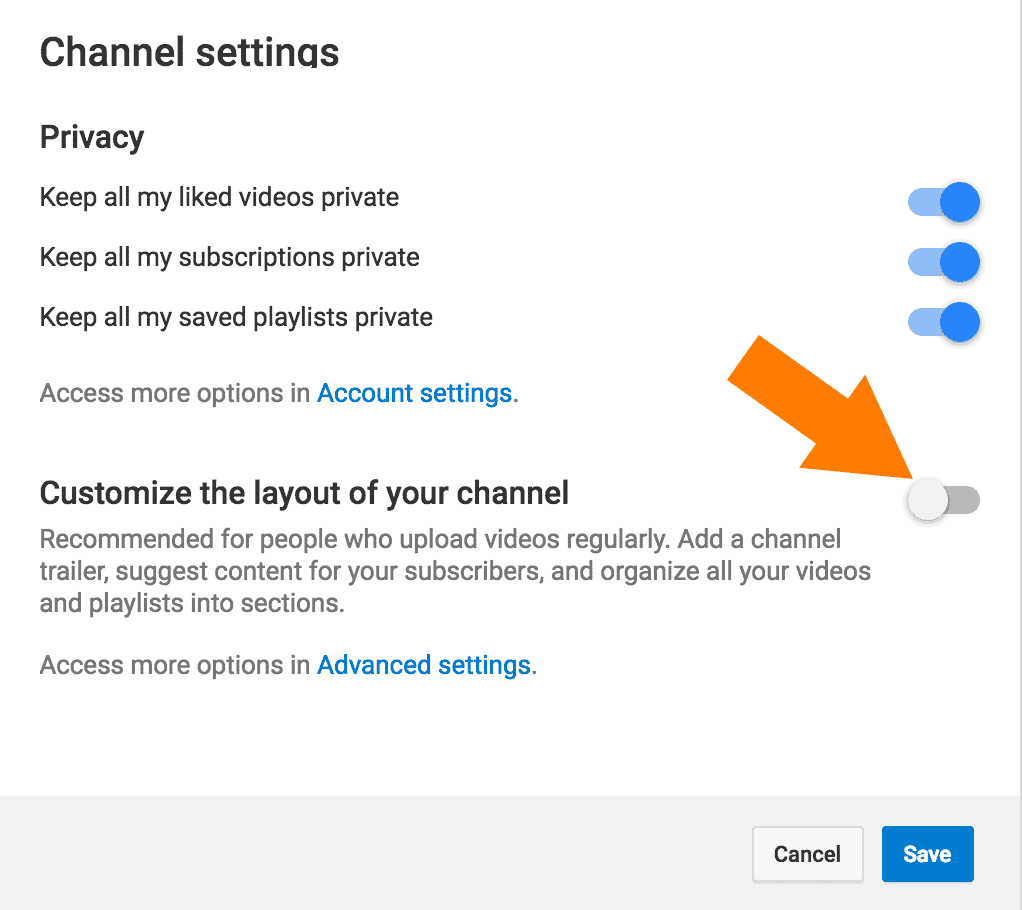 YouTube Channel Settings Screen